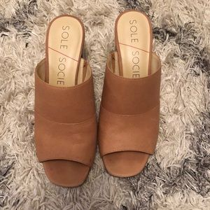 Sole Society Tan Leather heeled mules, Size 8